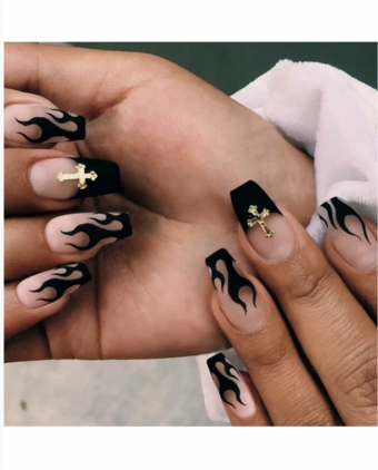 Black & Gold Cross Press On Nails