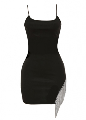 Alisha Fringe Dress Black