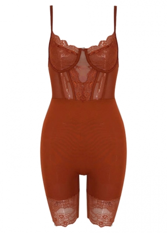 Amelie Lace Playsuit Rust