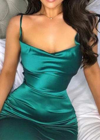 Lisa Satin Dress Green