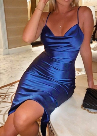 Lisa Satin Dress Blue