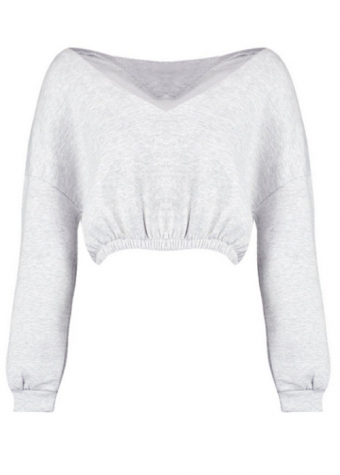 Mabel Crop Sweater Grey